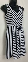 Striped Fit & Flare Dress Black White Size XS Stretch V Neck Sleeveless Womens