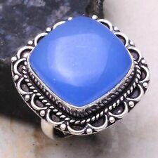 Blue Chalcedony Ethnic Gift Handmade Ring Jewelry US Size-9 AR 2399