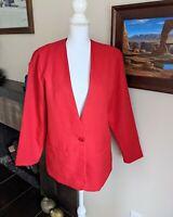 80/90s Collarless OneButton Red Blazer Jacket Women's 12 Working Girl MovieStyle