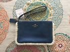 Coach Small In Leather Shearling F64709 Nwt Slate Blue / Natural Wristlet $95