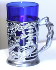 vtg art deco chrome oriental pattern nude lady handle holder w/cobalt blue glass
