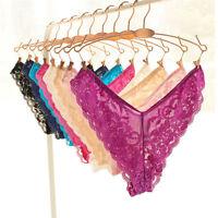 Women Briefs Panties Lace Underwear Transparent Lingerie Thongs Plus Size EB1IS