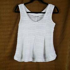 LC Lauren Conrad Tank Top Womens Size S White Crochet Semi Sheer Boho Blouse