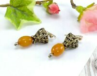 Vintage / Vtg Style 9CT Gold Butterscotch Amber Drop Earrings - Gift Boxed