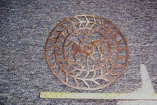 "Vintage unusual brass lattice plaque? of a horse 8.1/4"" wide used see details"