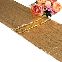 """10 20 50 Champagn Sequin Table Runner 12""""x118"""" Sparkly Bling Wedding Party Decor"""