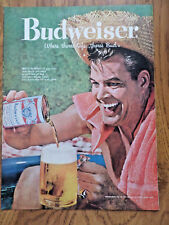 1959 Budweiser Beer Ad - Guy Staw Hat Who's Thirsty? Where There's Life Bud