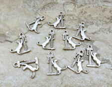 Set of 10 Pewter Cat on Scratching Post Charms - 5169
