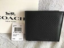 COACH Double Billfold Perforated Leather Wallet Mens - Black - F75278 - NWT $150