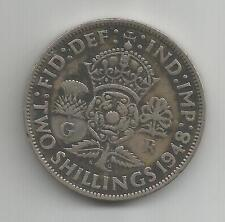 GB 1948 FLORIN, TWO SHILLINGS GOOD DEFINITION, BLACKENED DETAIL