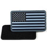 American Flag Blue Grey PVC Morale Patch 3D Tactical Badge Hook #21