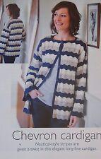 Señoras Chaqueta ~ ~ Diseño Náutico de Chevron patrón de ganchillo ~ tamaño 86cm-102cm (27)
