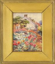 AMERICAN SCHOOL, Late 19th Century, Lush flower garden by a row of ho... Lot 935
