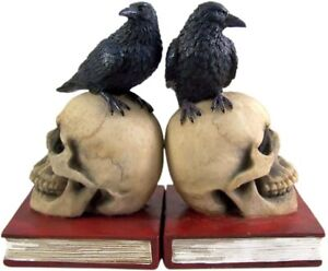 Gothic Skull and Raven Decorative Bookends, 7 Inches