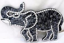Elephant Mosaic Glass Wall Art Plaque Home Decor (G)