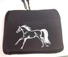 """New Black Running Horse Neoprene Nylon Tablet Case 2 Pockets Padded Zippers 10"""""""