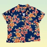 LA CABANA Womens Hawaiian Top Large Navy Blue Floral Button Up Rayon Tropical