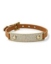 Michael Kors Brown Leather Wrap Bracelet Golden Plaque MKJ3607 Retail price $145