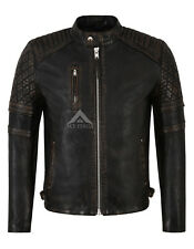 Men's Leather Jacket Black Bronze 100% Napa Quilted Classic Biker Style 4236