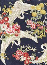 CRANES IN FLORAL GARDEN: Navy/Gold Metallic Asian Japanese Fabric -1/2 Yd.