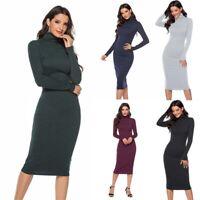 Pencil Knit Turtleneck Slim Sleeve Bodycon Dress Women Sweater Long Dresses