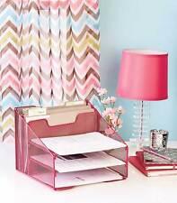 Pink Mesh Desktop File Organizer W/5 Compartments Office Supply Storage Holder