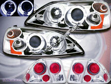 01 02 03 Honda Civic 4 Door Projector Headlights Chrome Halo + Clear Tail Lights