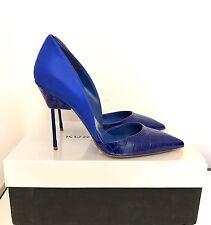 Kurt Geiger London Bond Blue Satin Croc Court Shoes Size 6 EU 39 RRP £220 BNIB