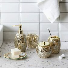5Pc Gold Mosaic Glass Bathroom Accessory/Accessories Set w Dispenser/Soap Dish