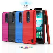 for NOKIA 3.1 PLUS (Cricket), [Modern Series] Phone Case Cover +Tempered Glass
