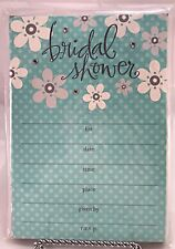 Hallmark Bridal Shower Invitation Cards Floral with Glitter & Polka Dots Teal 10
