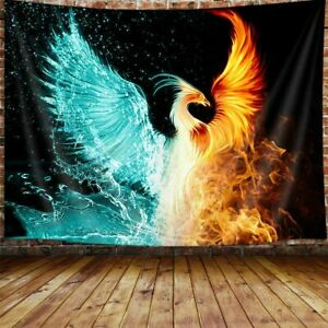 Fantasy Phoenix Tapestry Water Ice and Fire Rising Phoenix Animal Anime Tapestry