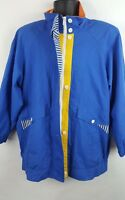 Vintage Braefair Sport Womens Nautical Sailing Jacket Large Blue 80s 90s J6