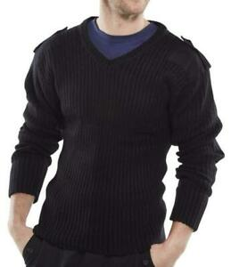 Security Military style V Neck Sweater Epaulettes, Shoulder, Elbow Patches - Amo