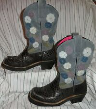 6 B Womens Ariat Baby Doll Anaconda Boots Black Gray Floral Leather Cowboy Cowgi