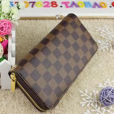 Hot selling women Brown leather wallets fashion zipper purse ladies handbag