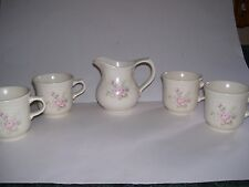 5 PFALTZGRAFF TEA ROSE Cups / Mugs AND Creamer Beige With Pink Flowers EXCELLENT