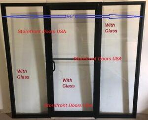 Storefront Door LH- pivot Bronze Anodized 3X7 w 2 Sidelites. Office partition