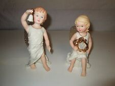 Lot 2 LENOX Angel Figurines B-1 with Bell B-5 with Harp Numbered no boxes