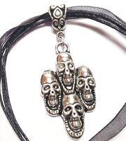 SKULLS_Pendant on Black Ribbon Necklace_Goth Skeleton Punk Rock Silver_369N