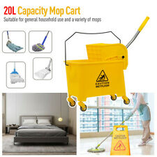 5.28 Gallon Commercial Mop Bucket Press Wringer Combo Rolling Cleaning Cart Ye,