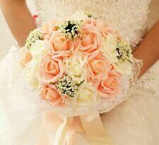 Bridal Wedding Bouquet Bridesmaid Artificial Pe Rose Flower Fake Pearl Pink Gift