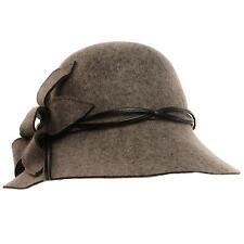 Winter Wool Classy Hatband Floral Wide Brim Cloche Bucket Hat Adjustable Gray