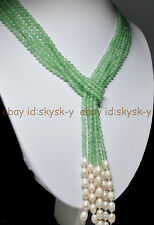 """AAA 50 """" Beautiful 3 Strands Natural 4mm Green Emerald Freshwater Pearl Necklace"""