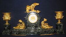 19th CENTURT GREEN MARBLE & DORE BRONZE CLOCK & URN SET WITH  EAGLE