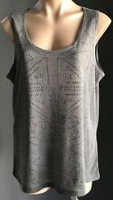 Retro Grey KATIES Sleeveless Stud Trim Tank Top Size 1XL (16-18)