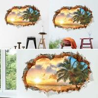 3D Sonnenuntergang Landschaft Strand Fenster Ansicht Kunst D6L3 Aufkleber R V7H4