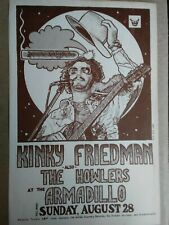 KINKY FRIEDMAN GUY JUKE POSTER AUSTIN TEXAS ARMADILLO WORLD HEADQUARTERS RARE 77