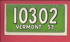1953 TOPPS License Plate Trading Cards # 42 VERMONT