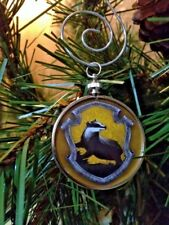"""Harry Potter Hufflepuff Crest doublesided Silver 1.25"""" Ornament Pottermore crest"""